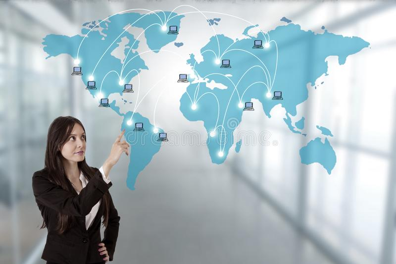 Business woman pointing to the map royalty free stock photos