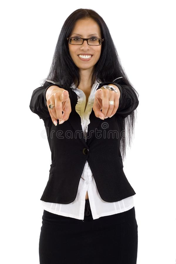 Business woman pointing to you with both hands royalty free stock photo