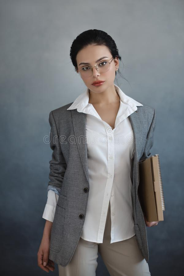 Business woman portrait. Beautiful stylish office worker stock image