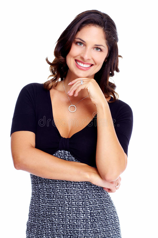 Business woman. Portrait of happy young business woman isolated on white background royalty free stock photo