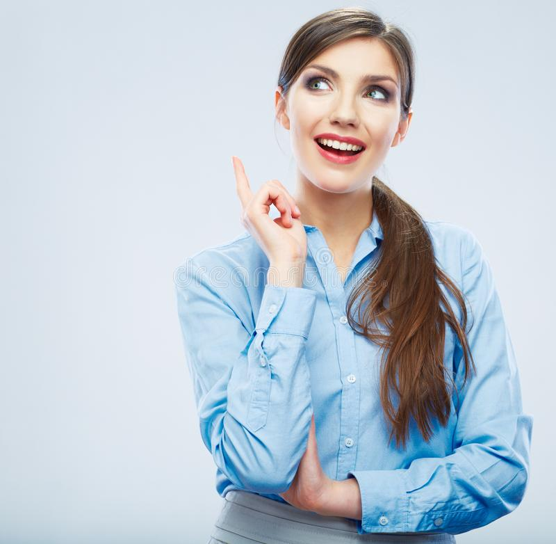 Business woman portrait. idea. Smiling young female model royalty free stock photos
