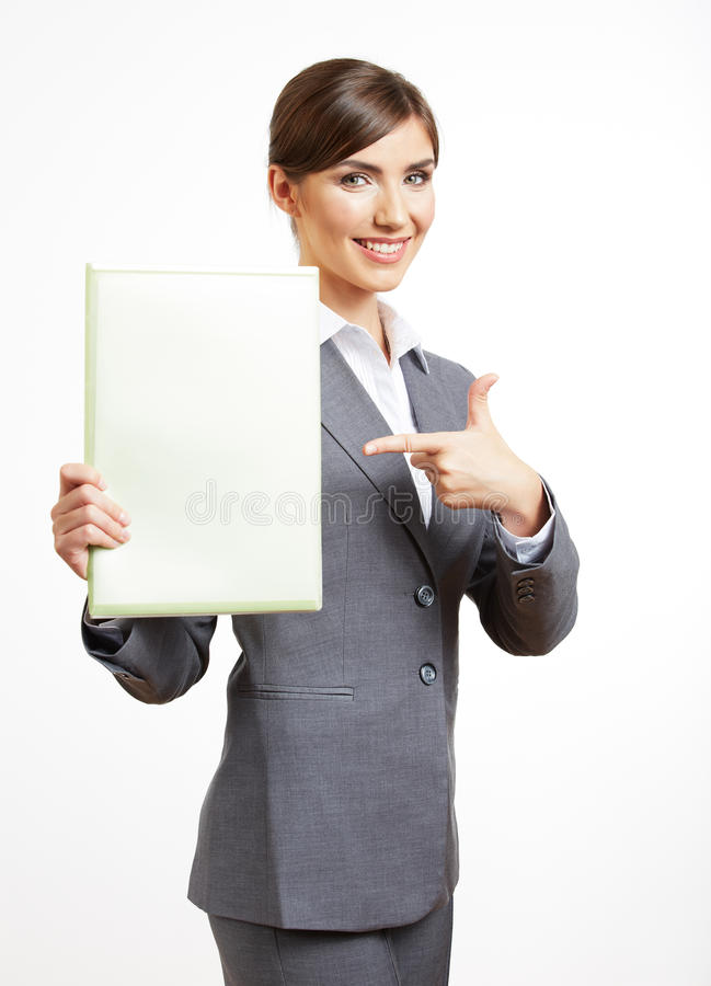 Business woman portrait isolated on white stock image