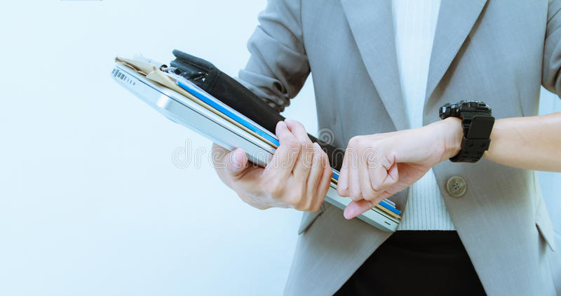 Business woman portrait and Look at my watch,business people content, business background. royalty free stock images