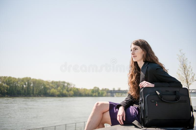 Business woman portrait - relaxing in nature royalty free stock images