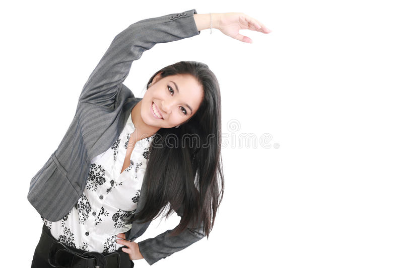Business woman portrait stretching stock images
