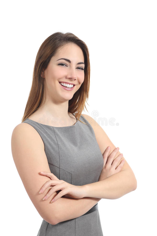 Business woman posing with a perfect smile stock images
