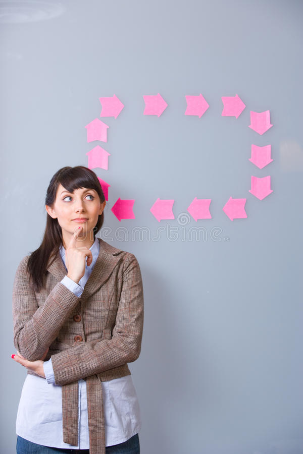 Business Woman Post It. Business Woman thinking with idea bubble stock photography