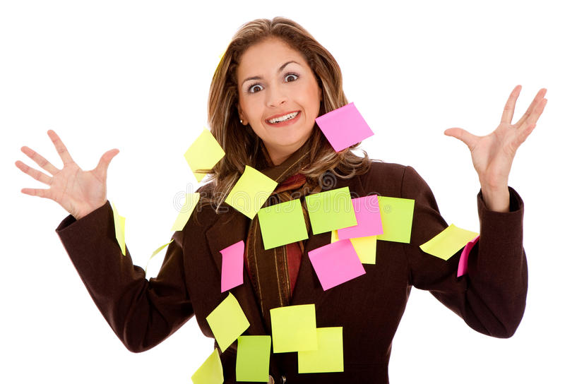 Download Business woman - post its stock photo. Image of isolated - 15829826