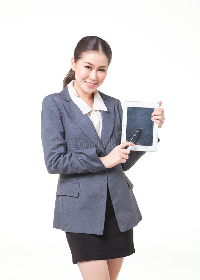 business woman present with blank screen tablet stock image