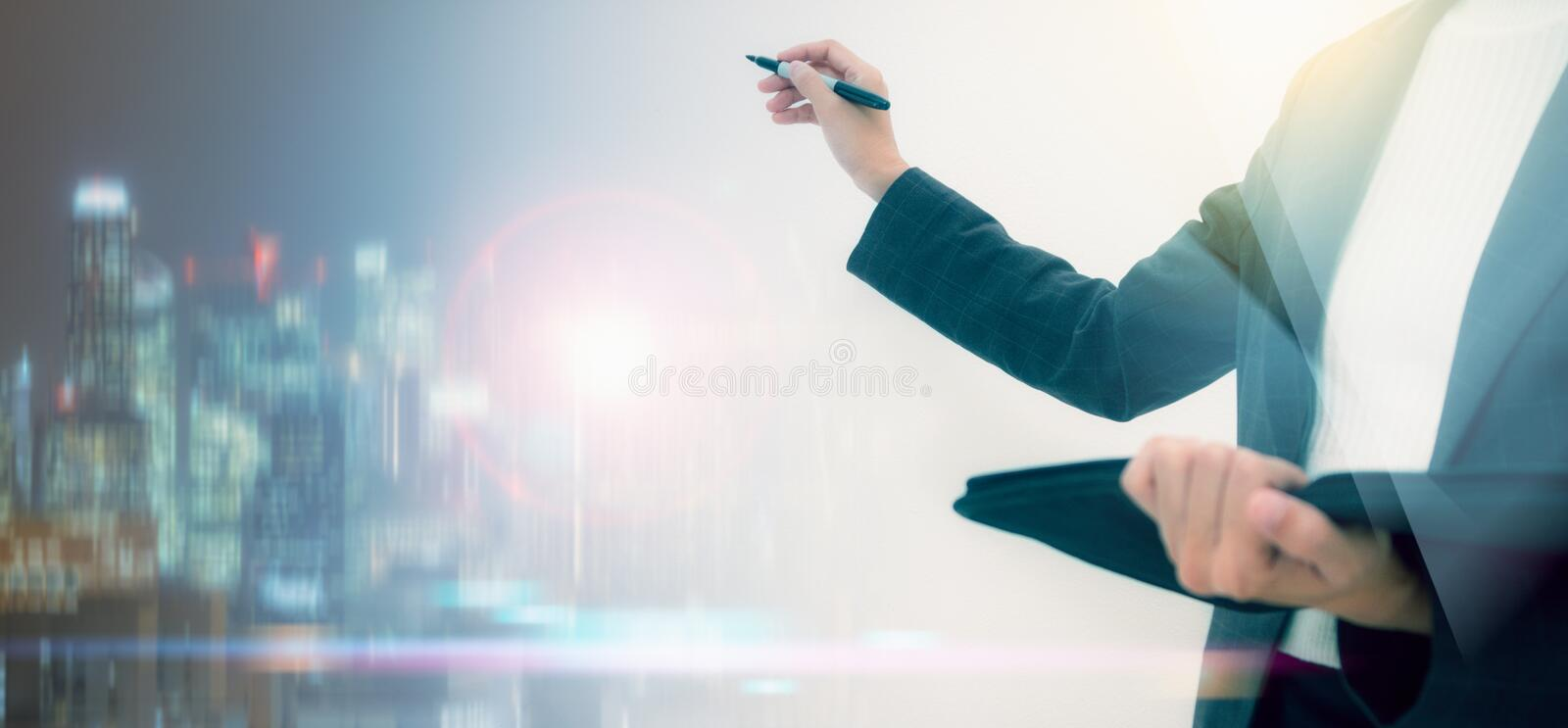 Business woman presentation and Analysis Statistics Report Concept,business people working in. The background,business content,business background and film royalty free stock photos