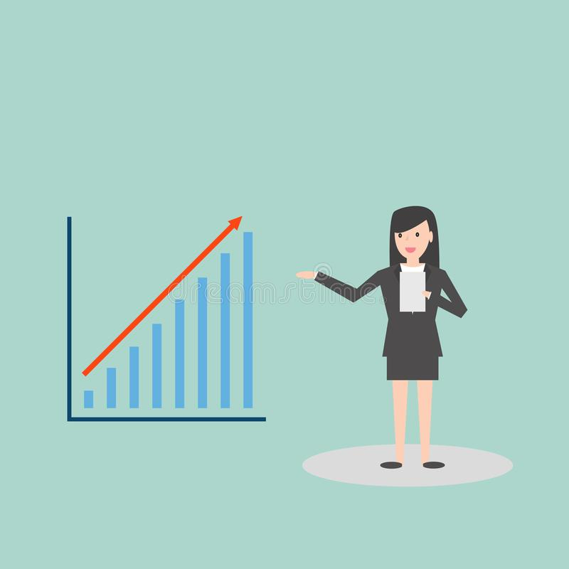 Business woman presenting bar chart report in flat style cartoon character illustration.  vector illustration
