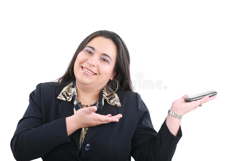 Business woman presenting something on hand royalty free stock photography