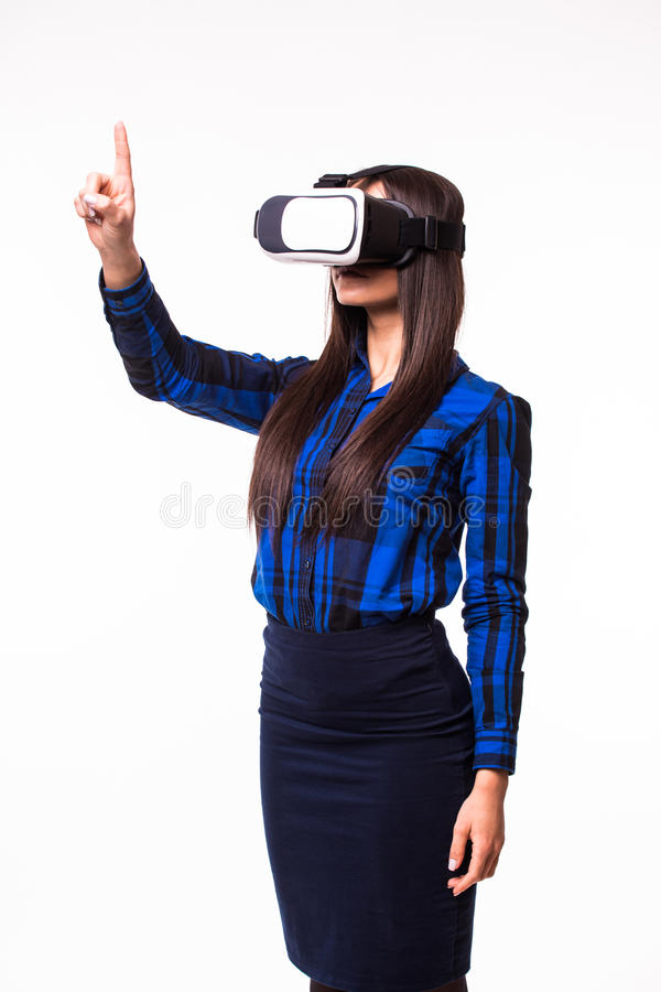 Business woman pressing screen by virtual reality. VR headset glasses device on white isolated background. Asian business woman pressing screen by virtual stock photography