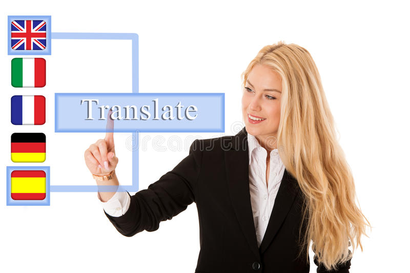Business woman pressing virtual button translate. Business woman pressing virtual button isolated over white. translate app stock photo