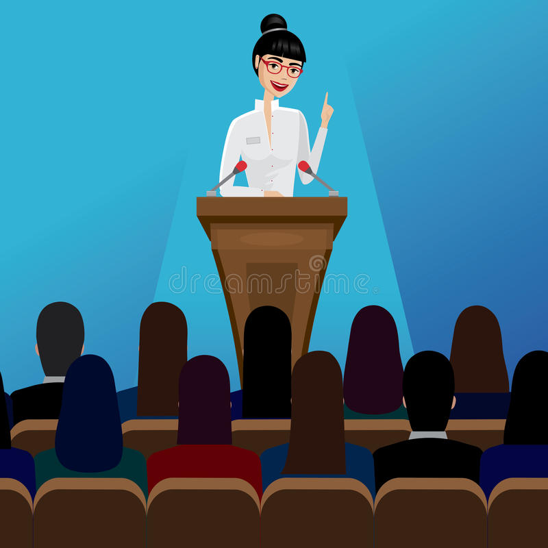 Business woman public speaker on conference. Smiling business woman public speaker staying in the pulpit on conference vector illustration