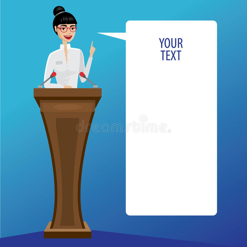 Business woman public speaker. Pretty business woman on podium saying bubble royalty free illustration