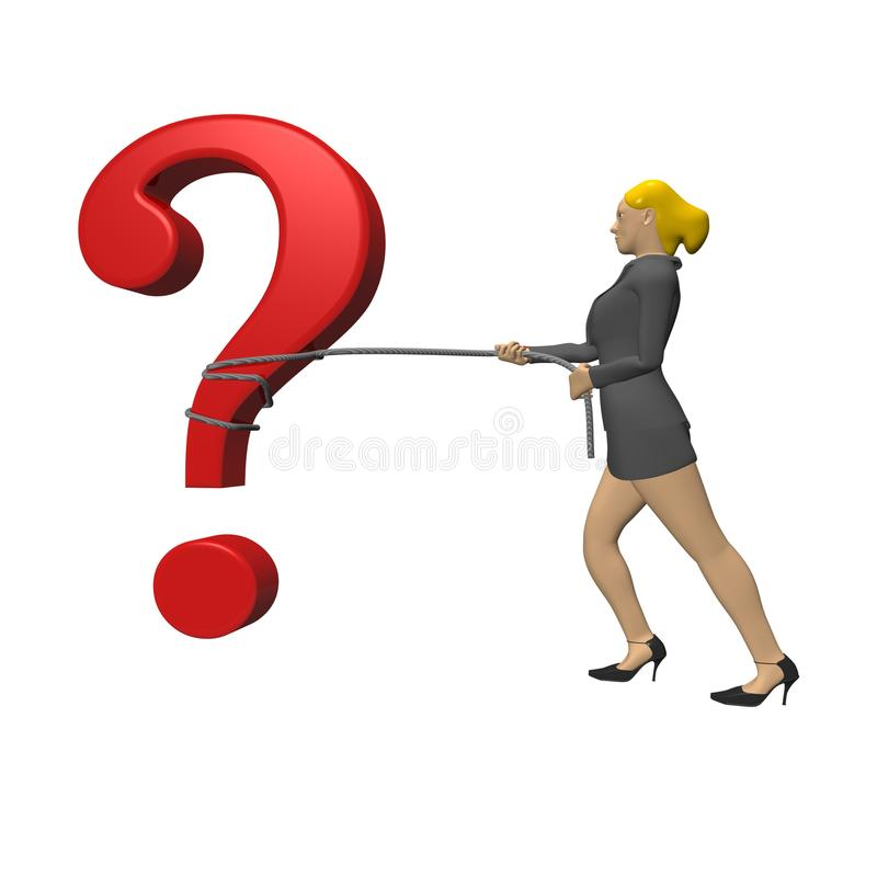 Business woman pulling question stock illustration