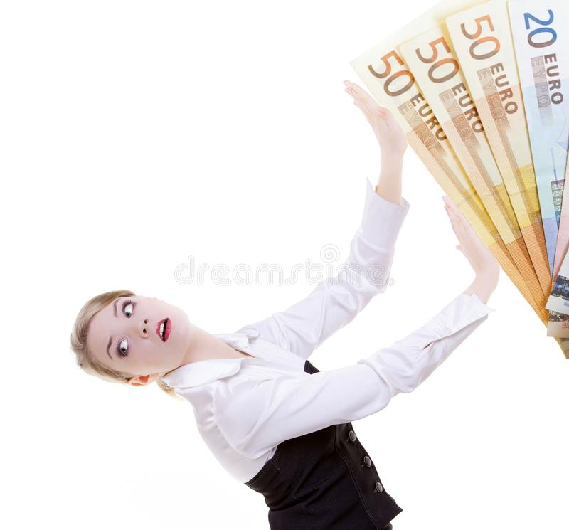 Business woman pushing dirty money euro away. Corruption. Businesswoman pushing dirty money euro currency away. Problem in work- corruption and professional stock photography
