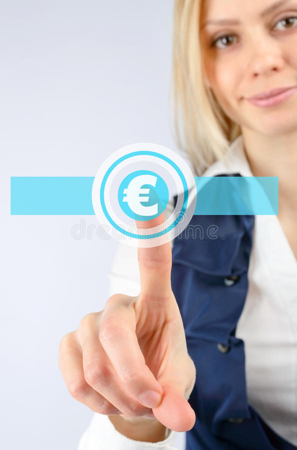 Business woman pushing the euro icon stock photo
