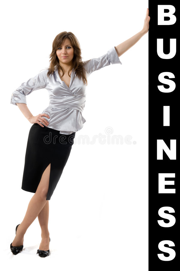 Free Business Woman Pushing Something Royalty Free Stock Photos - 7329018