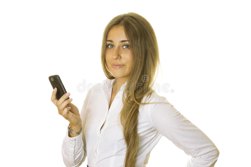 Business woman reading message on mobile phone stock image