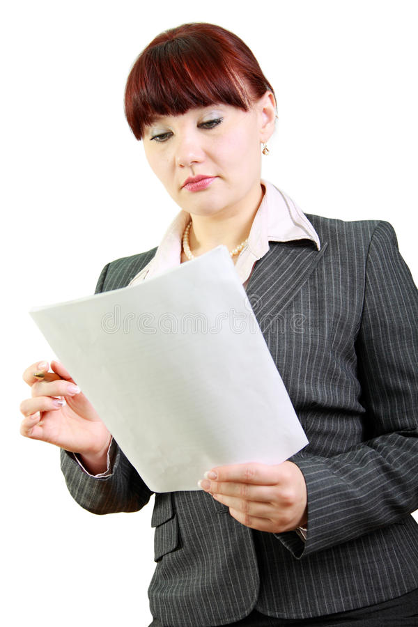Business woman reads documents stock photography