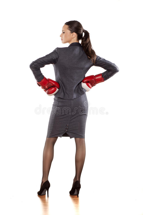 Business woman ready to fight stock photography