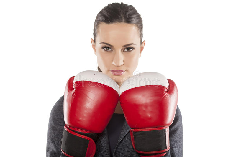 Business woman ready to fight royalty free stock images