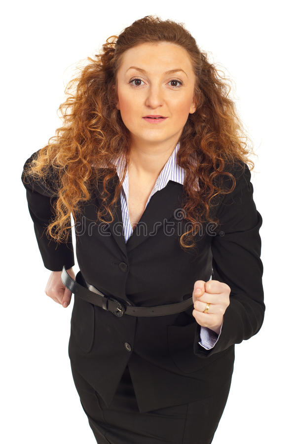 Business woman ready to start competition stock photography