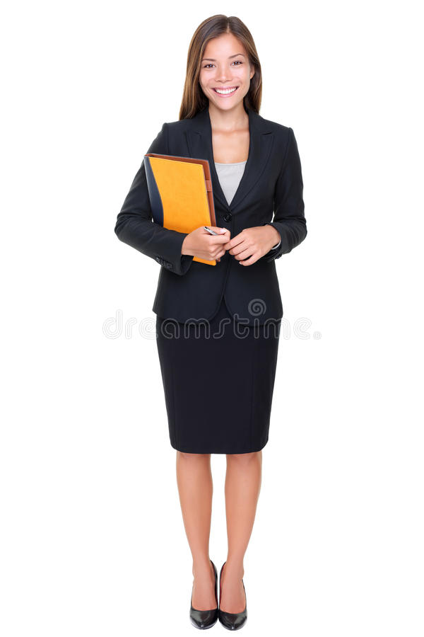 Business woman - real estate agent standing. Real estate agent businesswoman on white background. Asian business woman standing in full body stock images