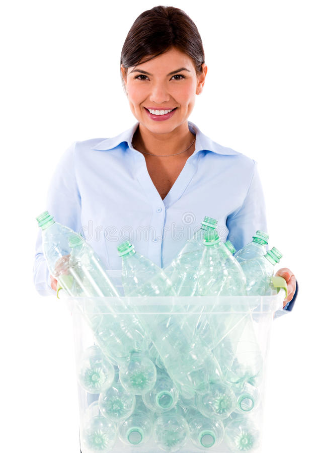 Business woman recycling