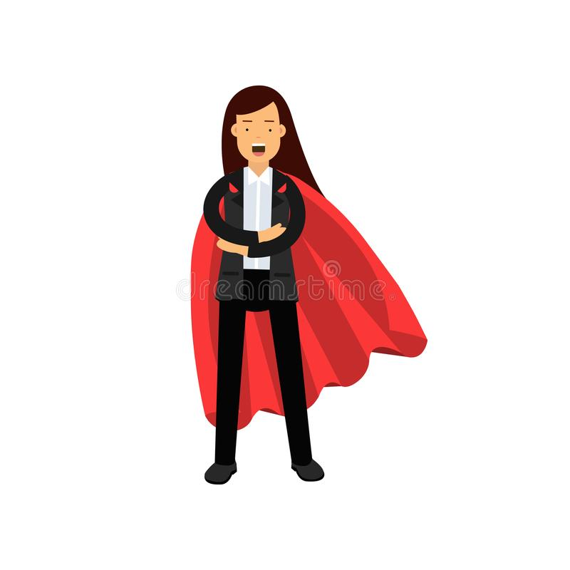 Business woman with red superhero cloak standing with arms crossed. Cartoon female character in black pant suit royalty free illustration