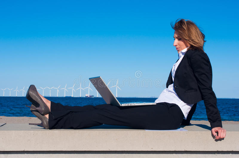 Download Business Woman Relaxing With Laptop Royalty Free Stock Photography - Image: 13369597