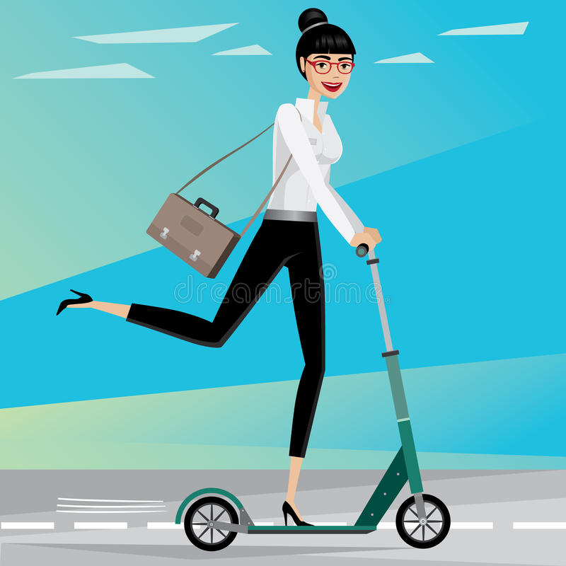 Business woman rides a scooter. Happy businesswoman rushing from work by scooter royalty free illustration