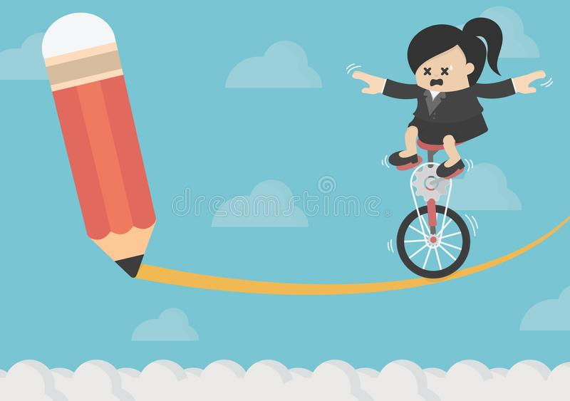Business Woman riding on the bike On risk. Eps 10 royalty free illustration