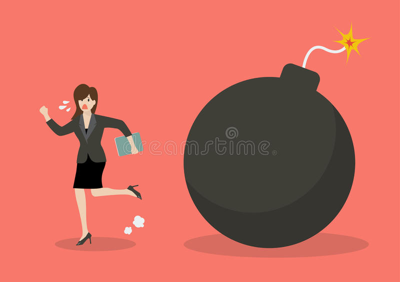 Business woman run away from bomb stock illustration