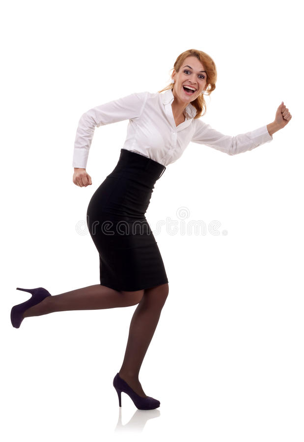 Business woman running royalty free stock images
