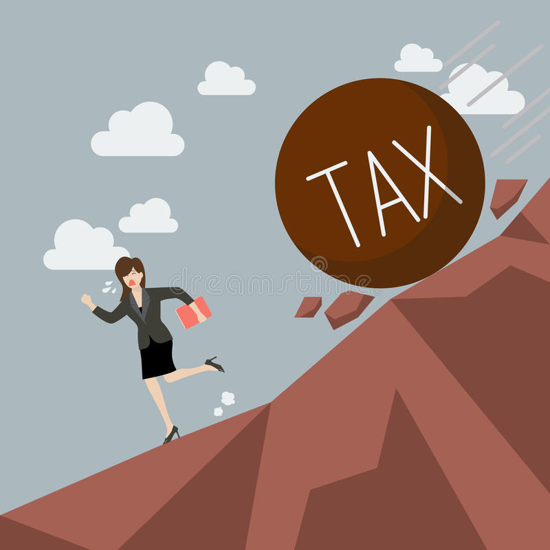 Business woman running away from heavy tax that is rolling down vector illustration