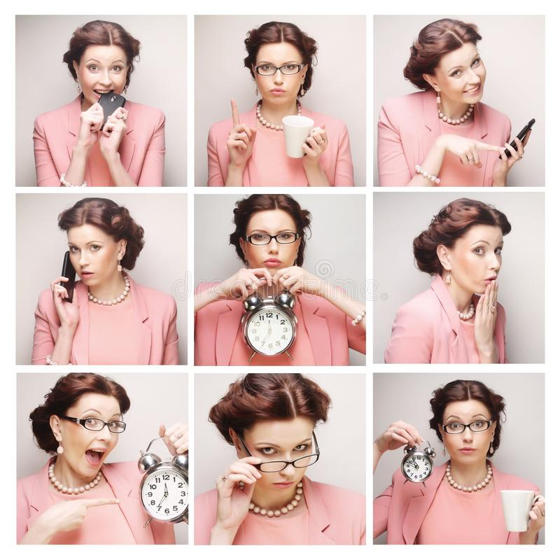Business woman's different facial expressions. Collage of young business woman's different facial expressions stock photography