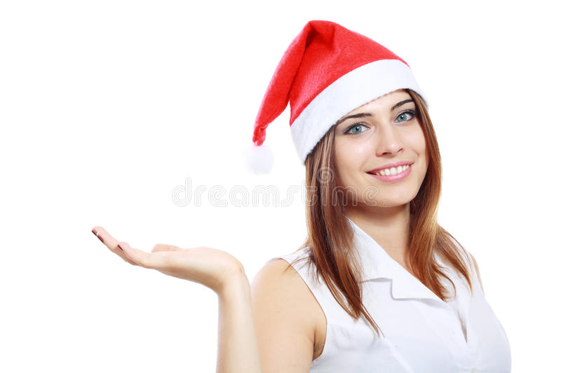 Download Business woman santa hat stock image. Image of looking - 33410867