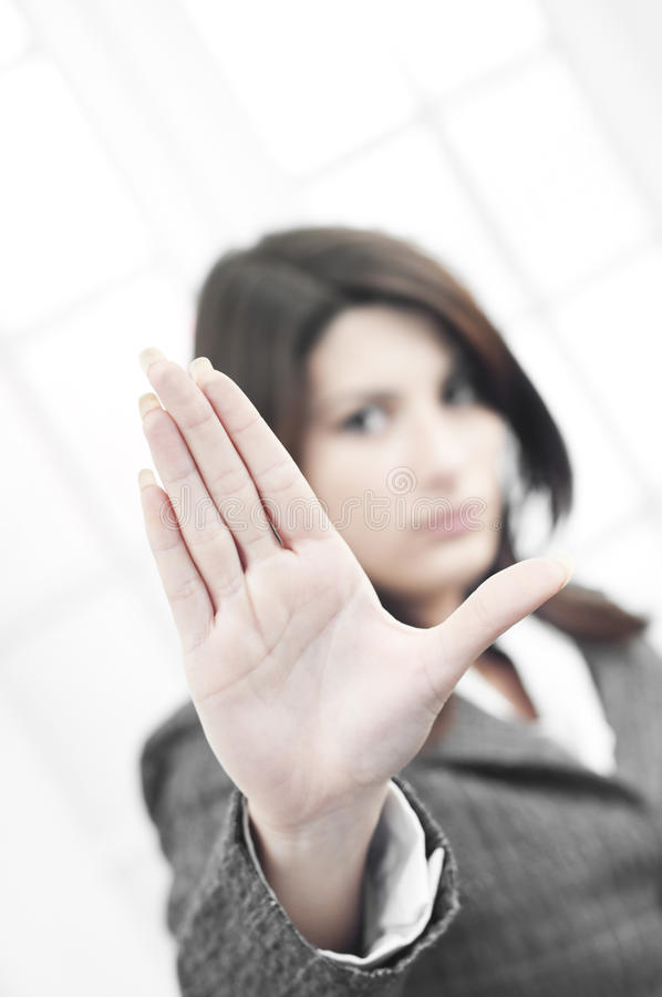 Download Business Woman Saying A Stop Sign With Her Palm Stock Photo - Image of casual, argumant: 22345070
