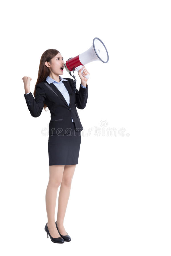 Business woman screaming. Business woman talking in megaphone in full length isolated on white background, asian royalty free stock image