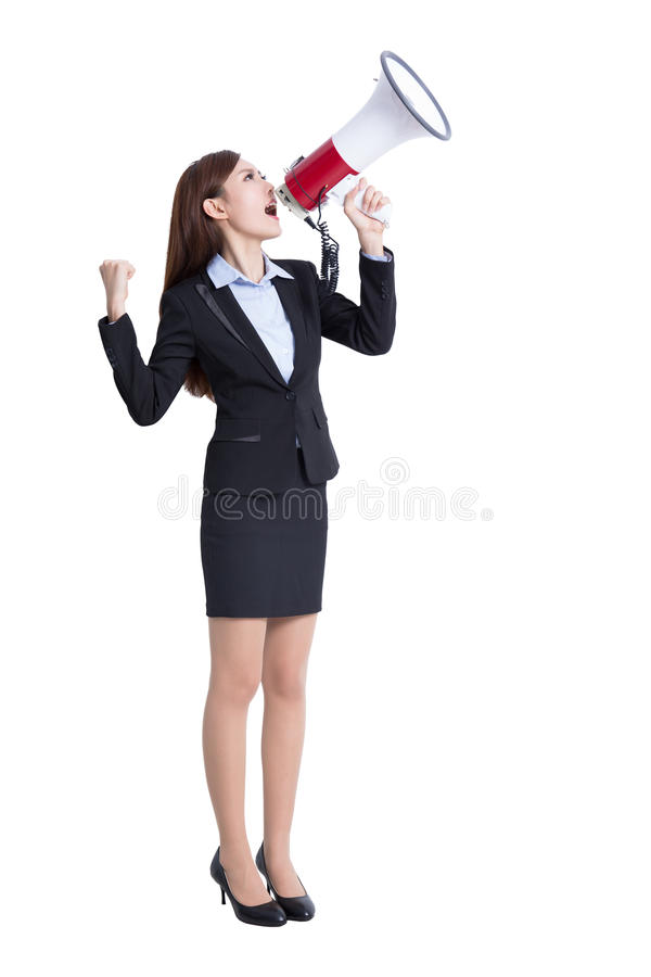 Business woman screaming. Business woman talking in megaphone in full length isolated on white background, asian royalty free stock images