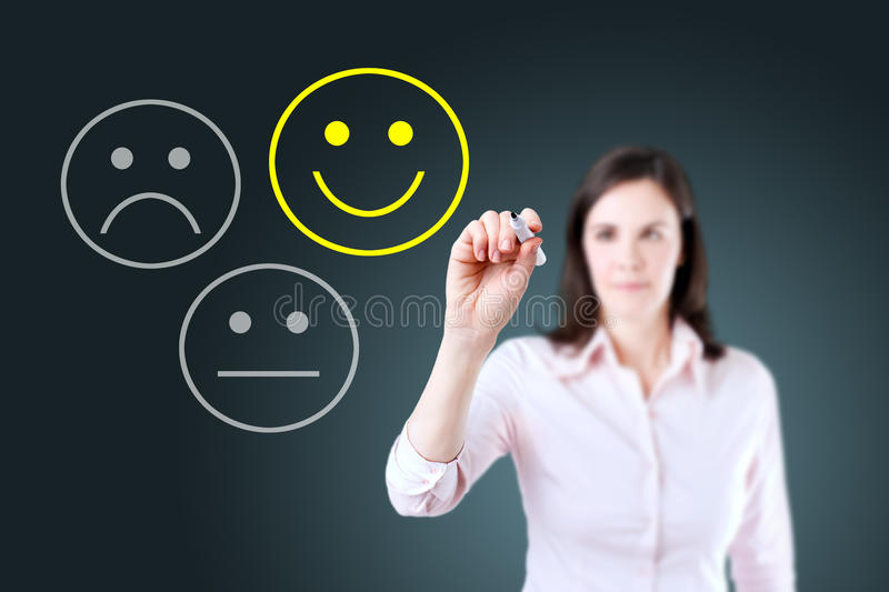 Business woman select happy on satisfaction evaluation. Blue background. royalty free stock image