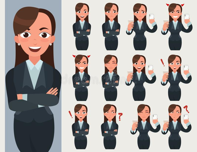 Business woman set. Office worker with different emotions and poses. vector illustration