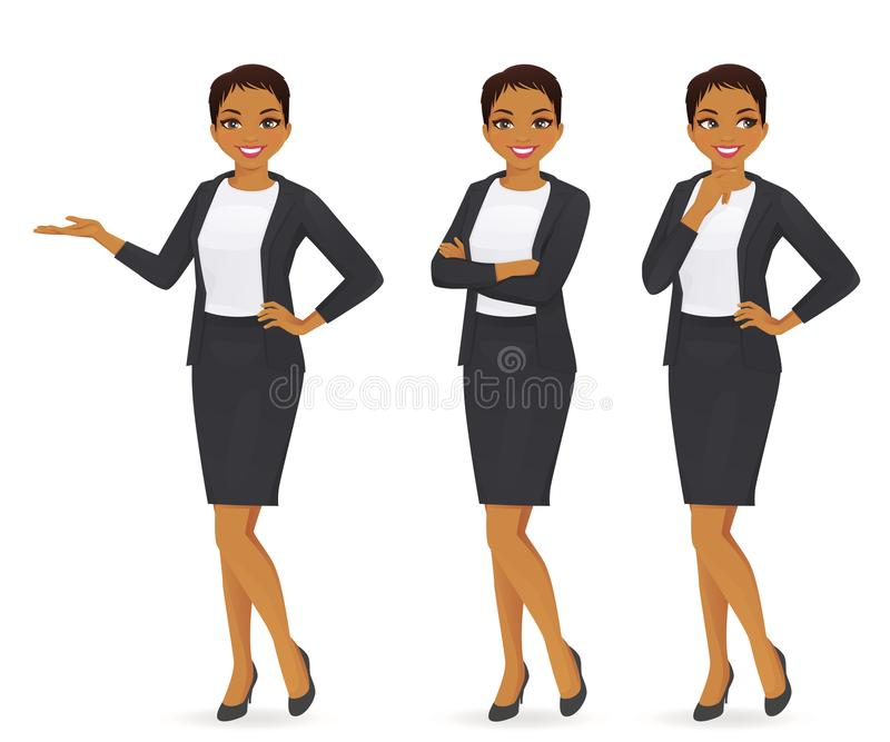 Business woman set. In suit vector illustration stock illustration