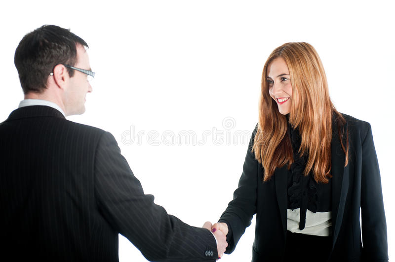 Download Business Woman Shaking Hands With A Business Man Stock Photo - Image: 32540364