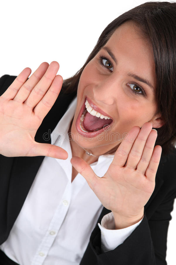 Download Business woman shouting stock photo. Image of delighted - 23693092