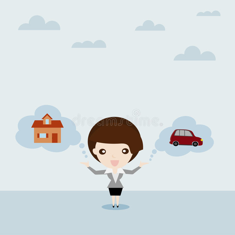 Business woman show car and house in cloud bubble. Dream for car and house, Business woman show car and house in cloud bubble (Chattel and Property) , Business royalty free illustration