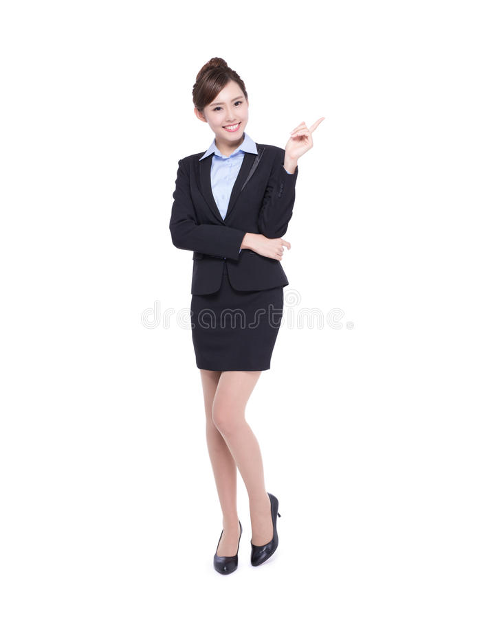 Business woman. Show something isolated on white background, asian beauty stock image
